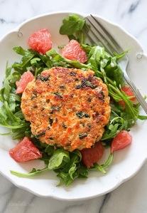 Salmon Quinoa Kale Burgers with Arugula